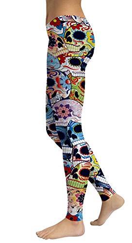 Women's Sugar Skull Printed Leggings Ankle Length Tights Capris Pants]()