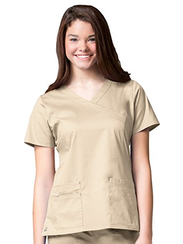 Blossom by Maevn Women's Princess Seam Mock Wrap Solid Scrub Top X-Large Khaki/Charcoal