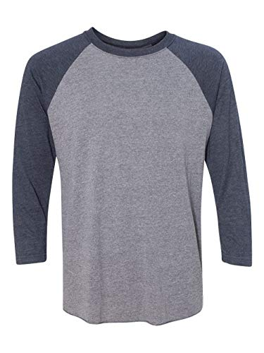 Next Level Apparel 6051 Unisex Tri-Blend 3 By 4 Sleeve Raglan - Vintage Navy & Premium Heather44; Medium