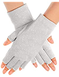 Women Sunblock Fingerless Gloves Non Skid Summer Gloves UV Driving Gloves(gray)