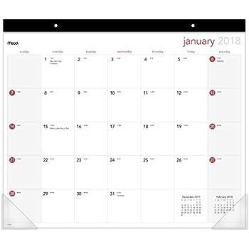 Amazon Com Mead Desk Pad Calendar January 2018