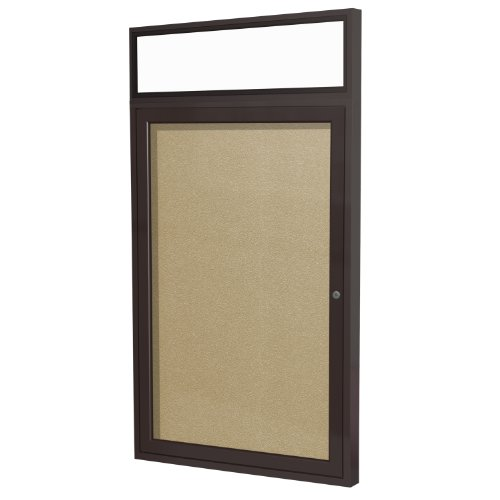 Headliner Cork Bulletin Board - Ghent 3 x 2 Inches Outdoor Bronze Frame Enclosed Vinyl Bulletin Board with Headliner , Caramel , Made in the USA