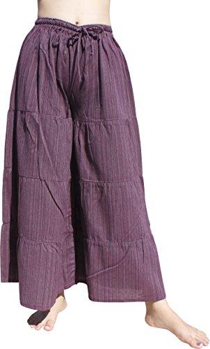 - Raan Pah Muang RaanPahMuang Brand Step Layered Flared Yoga Pants Striped Cotton Petite, Small, Violet