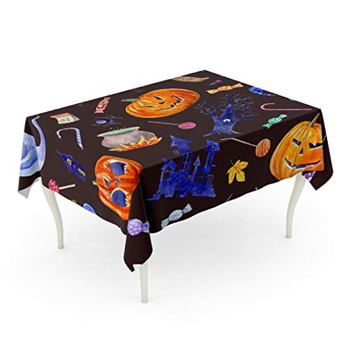 Tarolo Rectangle Tablecloth 60 x 102 Inch Pumpkin Jack O Lantern Lollipop Castle Bat Spider Broom Candle Tree Crow Autumn Leaves and Candy Halloween Watercolor Brown Table Cloth