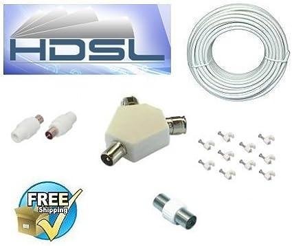 HDSL - Kit de extensión de cable coaxial (25 m, incluye adaptador en Y, cable RG6 blanco, conector hembra, conector de superficie coaxial, conectores de TV): Amazon.es: Electrónica