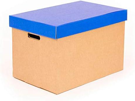 Kartox | Cajas de almacenamiento con tapa azul mate | Cajas para mudanza y almacenaje de cartón con asas | Cajas se cartón muy resistente |53.2x33.1x32.5 (largo x ancho x alto) en
