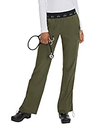 KOI Lite Women's Spirit Logo Elastic Waistband Scrub Pant Medium Tall Olive Green