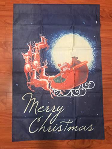 Moonlight Sleigh - Moonlight Santa 28 x 40 Merry Christmas Reindeer Sleigh Fly House Flag