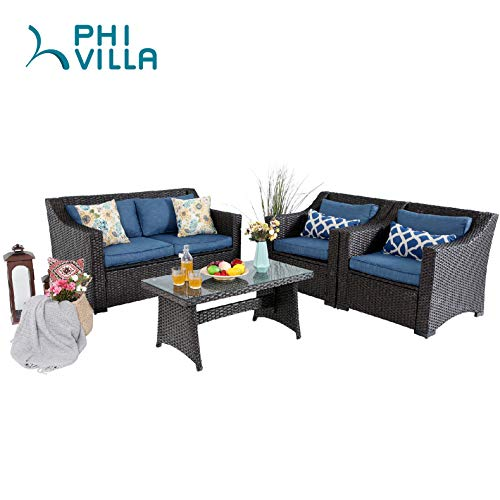 - PHI VILLA 4-Piece Conversation Set Outdoor Wicker Patio Furniture Set- Hand Woven Rattan with Upgraded Design, Dyed Spun Polyester Fabric for Cushions, Tempered Glass Top Coffee Table