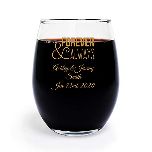 Forever and Always 9 Oz Toasting Glasses, Case of 144 Custom Printed Stemless Wine Glasses (Gold Ink), Engagement Party Favor Bridal Shower