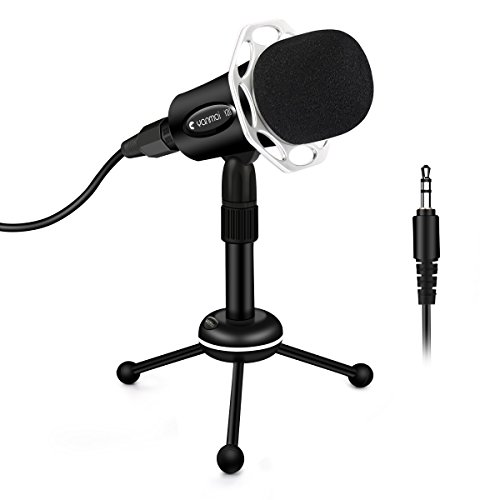 Foldable Single Channel (PC Microphone, ELEGIANT Portable Condenser Microphone with Stand 3.5mm Home Studio Recording Microphone for Computer iPhone Smartphone Android iPad Podcasting Karaoke Skype Game)