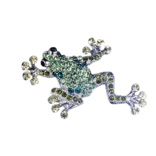Loches Lynn Frog Stelluxa Austrian Crystals 925 Silver Plated Fashion Jewelry Brooch (Austrian Crystal Frog Pin)