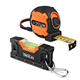 Measuring Tape 314-Inch Metric and Inches with Magnetic Hook, Nylon Coating, Level 4.5-Inch Aluminum Alloy Magnetic Torpedo Level Plumb/Level/45-Degree, for Construction, Home, Carpentry Measurement