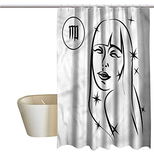 Denruny Shower Curtains Under 15 Zodiac Virgo,Woman with Stars,W72 x L72,Shower Curtain for Girls]()
