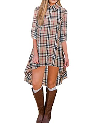 BIUBIU Women's Roll Sleeve Plaid Button up Long Blouse Tunic Tops High Low Dress