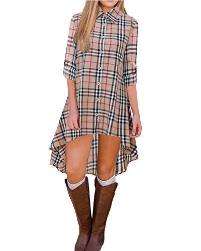 BIUBIU Womens Roll Sleeve Plaid Button up Long Blouse Tunic Tops High Low Dress