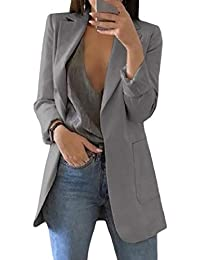 Cobama Women Stylish Turn Down Collar Open Front Solid Pocketed Business Blazer