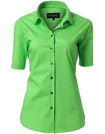 15b6f1d8 Women's Blouse Plain Work Shirt, Short Sleeve 97% Cotton Slim Fit Solid  Button Down