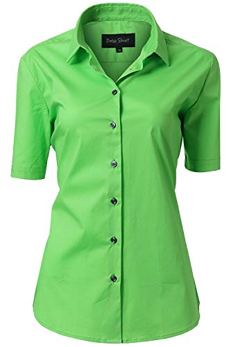 (HORSE SECRET Button Up Shirts, Female Formal Work Wear Uniform Office Green Shirts Size 10)
