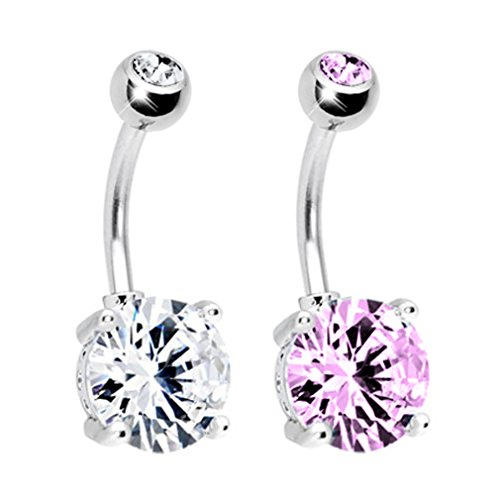 BodyJ4You 2 Belly Ring Big CZ Crystal Clear and Pink Piercing Curve Barbell 14G with 2 Belly Retainer