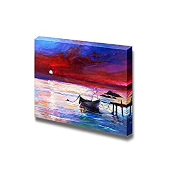 Oil Painting of Boats and Sea Purple Sunset and White Moon Over Ocean Home Deoration ing ped Wall Decor