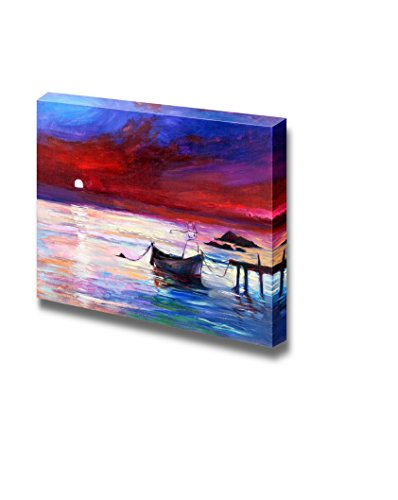 Oil Painting of Boats and Sea Purple Sunset and White Moon Over Ocean Home Deoration Wall Decor ing