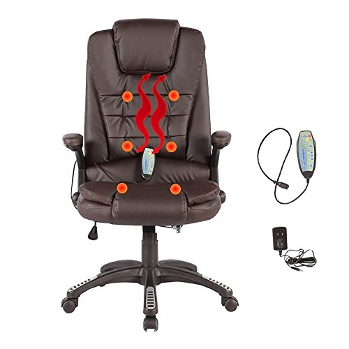 Heated Vibrating Massage Chair Executive Ergonomic Computer Office Desk Brown (Us Reclining Rocking Chair)