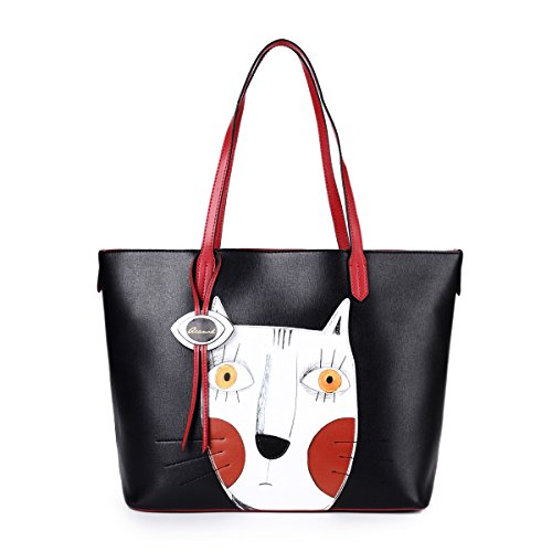1e688ae88141 Cat Handbags for Women Leather Crossbody Cute Tote Designer Shopping Purse  Large Cross Body Shoulder Ladies Bag Black