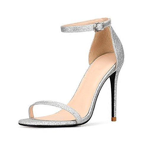 Commercio da Alla Caviglia Sposa Partito Fibbia Sera WWUX Peep Sandali Paillettes Silver Scarpe Alti Toe Cinturino Stiletto Donna 10CM Estate 36 da Tacchi Ladies da xqvTZ