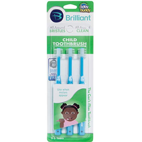 Brilliant Child Toothbrush by Baby Buddy, Ages 2-5 Years, Sky Blue, 3 Count