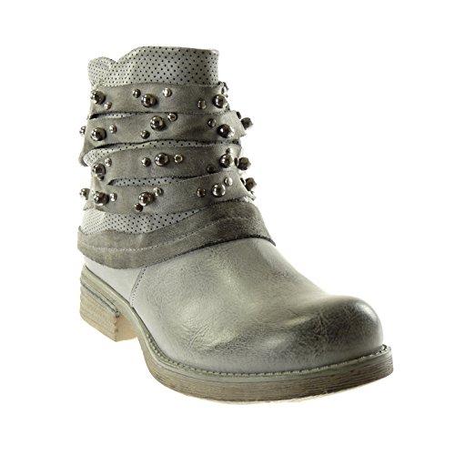 Angkorly Damen Schuhe Stiefeletten - Biker - Reitstiefel Kavalier - Nieten - Besetzt - Perforiert - Linien Blockabsatz 3 cm Grau