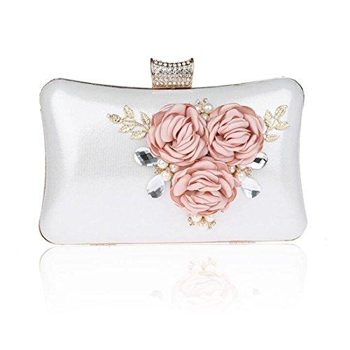EPLAZA Women Large Capacity Flora Evening Clutch Bags Wedding Party Purse Handbags Wallet (silver) Crystal Designer Handbag