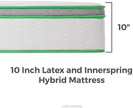 home, kitchen, furniture, bedroom furniture, mattresses, box springs,  mattresses 12 image LINENSPA 10 Inch Latex Hybrid Mattress - Supportive - Responsive in USA