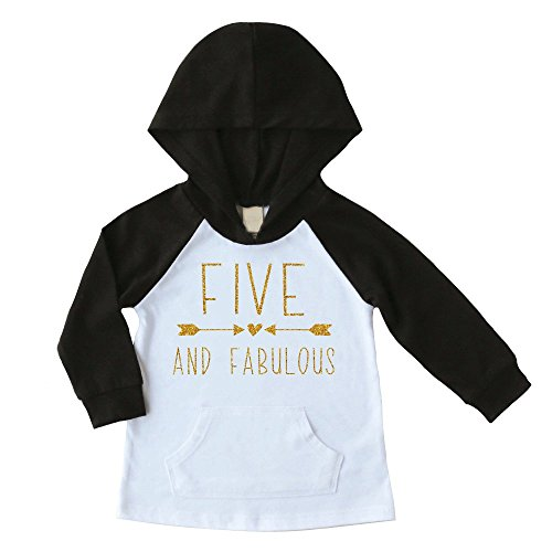 Kids Birthday Sweatshirt (Fifth Birthday Girl Shirt, Five Fabulous Birthday Girl Hoodie (Black, 5T))