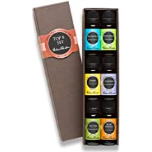 Top 6 100% Pure Therapeutic Grade Basic Aromatherapy Sampler Essential Oil Gift Set- 6/10 ml (Eucalyptus, Lavender, Lemon, Sweet Orange, Peppermint, Tea Tree)