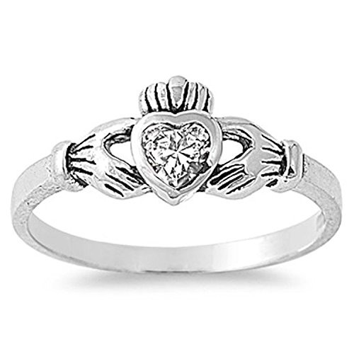 925 Sterling Silver Claddagh Ring Heart Shape Bezel Set Clear CZ Fidelity Promise Ring