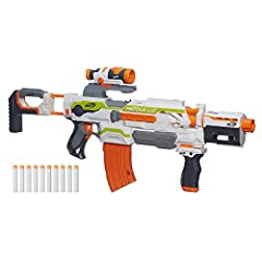Get a whole arsenal in one blaster with the motorized Modulus ECS-10 blaster! This incredibly flexible blaster has a targeting scope, drop grip and dual-rail barrel, and its many removable parts let you customize your blaster in more than 30...
