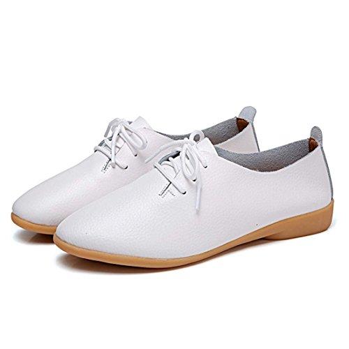 Schuhe Leder Wohnungen Driving Mokassins Frauen Mädchen YIBLBOX Weiß Up Casual Müßiggänger Ofiice Lace qfPWwFg