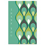 Tree-Free Greetings 94599 EcoNotes Thank You Card Set, 4 X 6-Inch, 12 Count Cards with Envelopes, Teal Peacock