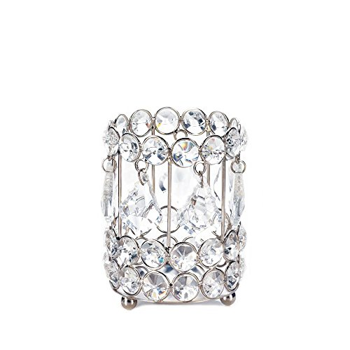 Zings & Thingz 57073913 Crystal GEM Candleholder, White