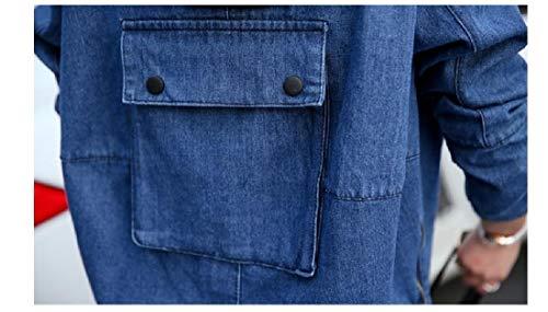 Howme Aprire Blu Denim Parka Anteriore Cappuccio Scuro Allentato Outwear Mini Cerniera donne Bw7xqrOB