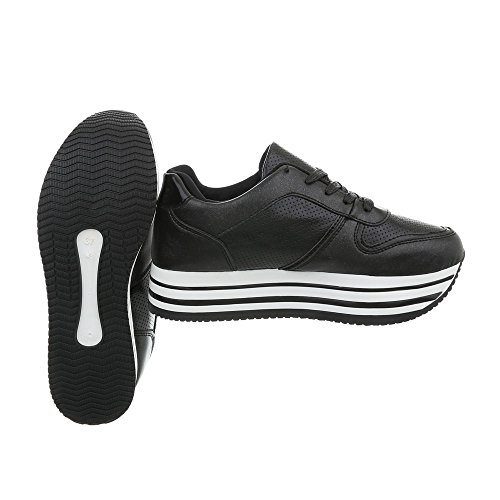 Zapatillas Zapatillas Negro Zapatos para Ital Mujer Plano Bajas Ll1706 Design wpIwqxT