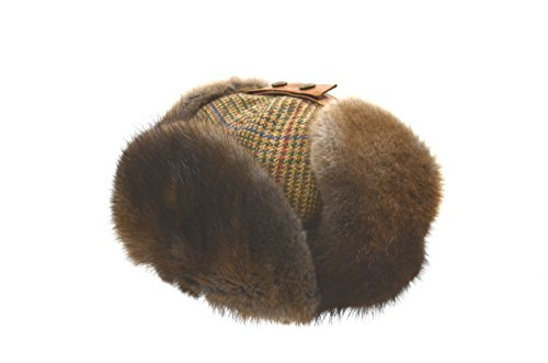 Crown Cap Muskrat W/Scottish Tweed, Gold Glen Check/Natural, - Crown 20 Natural