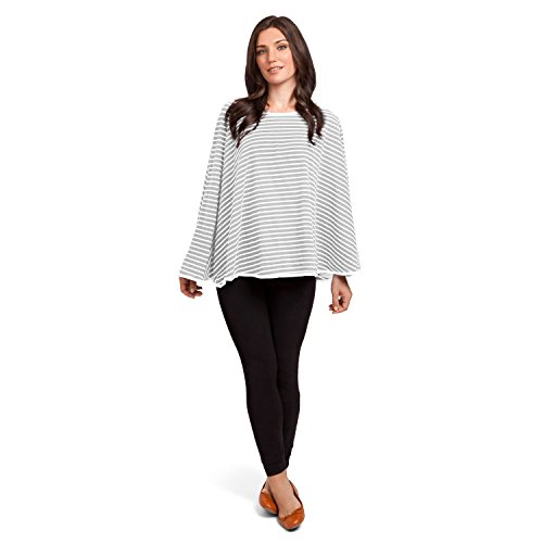 360° FULL COVERAGE Nursing Cover for Breastfeeding - Luxurious, Soft Breathable Cotton in Poncho Style (Gray Stripe) by EN Babies (Image #5)