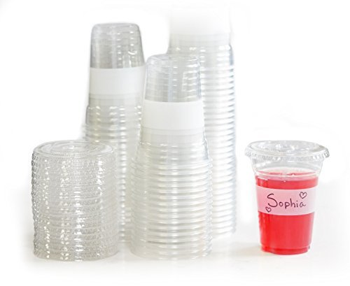 Tovla Clear Plastic 16 oz. Disposable Cups with Lids (100-Count Set) for Smoothies or Iced Coffee Tea, Milk, Juice, Soda, Water | Party Drinkware, Writable Exterior -
