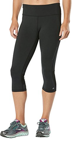 R-Gear Women's Recharge Compression 18-inch Capri Leggings with Pockets for Gym, Yoga, Fitness, Black, M