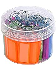 WeKonnect; 50 Multicolor Key Tags, Key Chain   Key Ring with Name Tag Label Writing Window - Assorted Color with Transparent Container