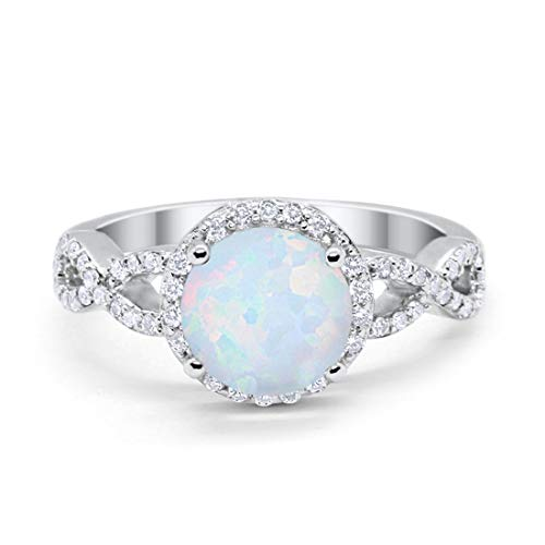 Blue Apple Co. Art Deco Halo Infinity Engagement Wedding Ring Created White Opal Round Cubic Zirconia Solid 925 Sterling Silver, Size-10