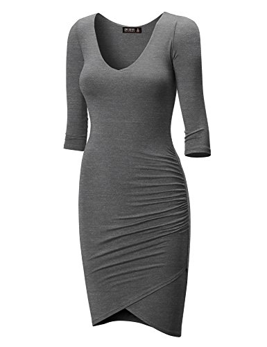 CTC Womens Deep V Neck 3/4 Sleeve Tulip Bodycon Dress XXXL - Heather Deep Charcoal