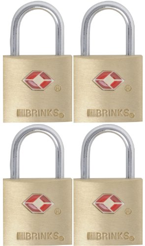 Brinks 161-20471 TSA Approved 22mm Luggage Lock Solid Brass, 4-Pack (Best Bolt Cutters For The Money)